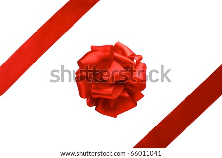 single gift bow, red satin, with two oblique ribbons isolated on white