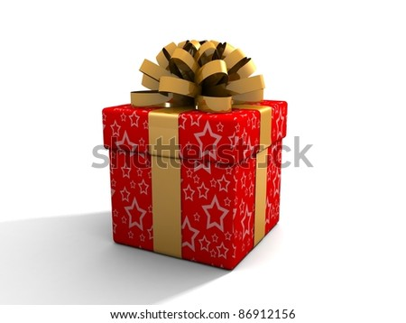 Single gift box with ribbon on white background