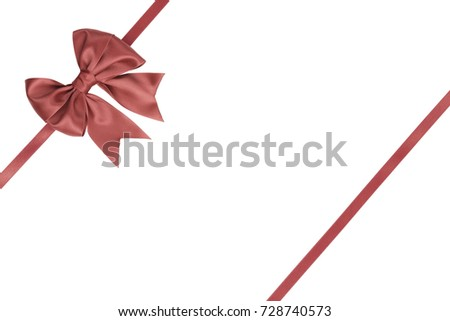 Single gift ribbon bow with tails coral color with parallel ribbon for presents on white background