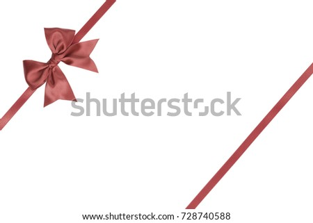 Single gift ribbon bow with tails coral color with parallel satin thin ribbon for presents on white background