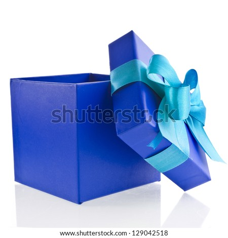 single gift wrapped present box with blue -aqua satin bow close up isolated on white background - stock photo