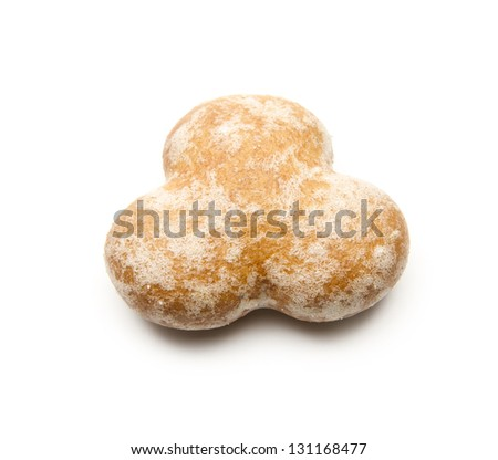 single gingerbread cookie isolated on white background