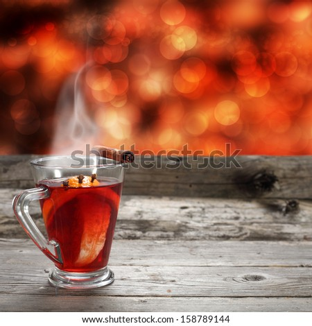 single glass of hot mulled  - stock photo