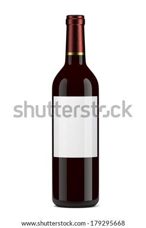 Single Glass Wine Bottle with Blank Label on White Background - stock photo