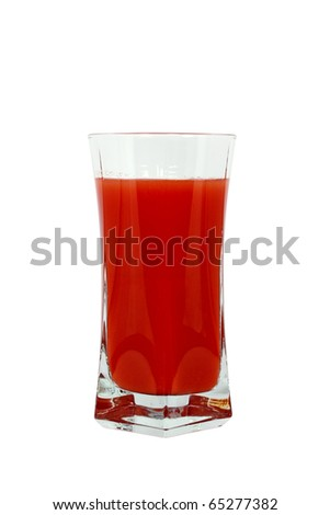 Single glass with red drink isolated on white