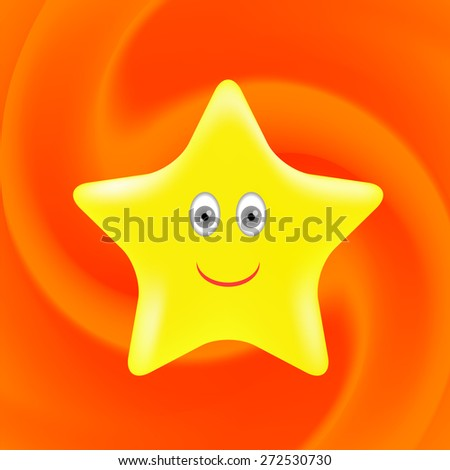 Single Gold Star on Orange Wave Background.