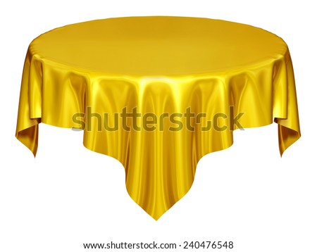 single, golden tablecloth, separated on white, the wishing-table - stock photo