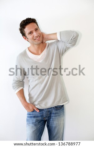 Single good-looking man, isolated