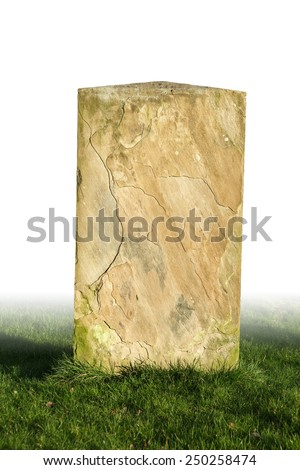 single grave stone cut out  - stock photo