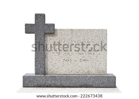 single grave stone cut out (Clipping path) - stock photo