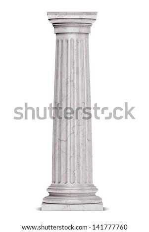Single greek column isolated on white - stock photo