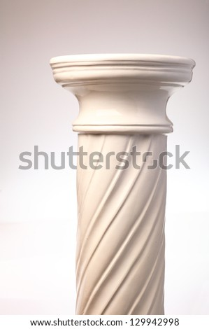 Single greek column on white background - stock photo