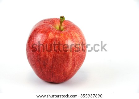single green apple on white background