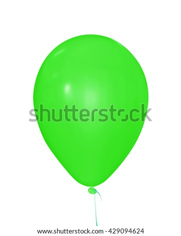 Single green balloon isolated on white. Clipping path included.                             - stock photo