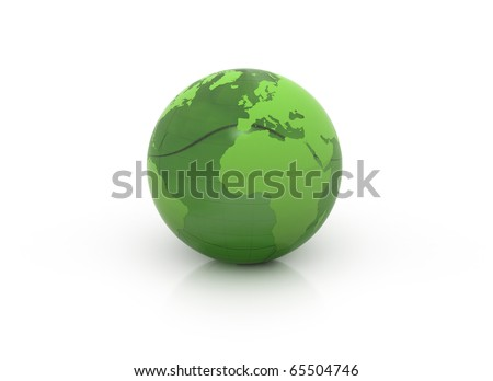 Single green globe isolated on white  3d render
