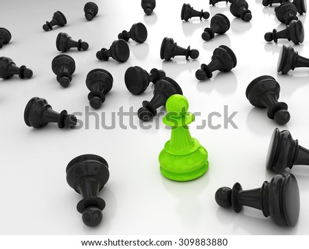 Single green pawn. Last one standing Business strategy concept background  - stock photo