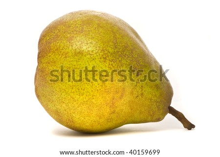 Single green pear isolated on white background