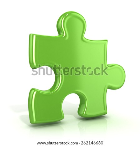 Single, green, standing jigsaw puzzle piece. 3D render icon isolated on white background. Usual angle - stock photo