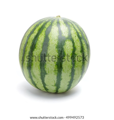 Single green striped watermelon isolated on white background