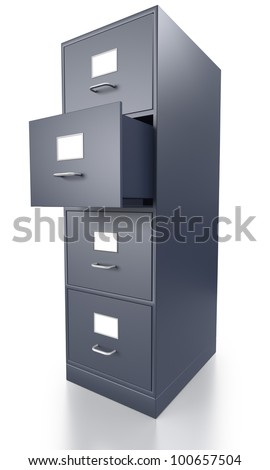Single Grey Filing Cabinet with One Open Drawer on a white Background - stock photo