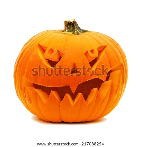 Single Halloween Jack o Lantern isolated on white - stock photo