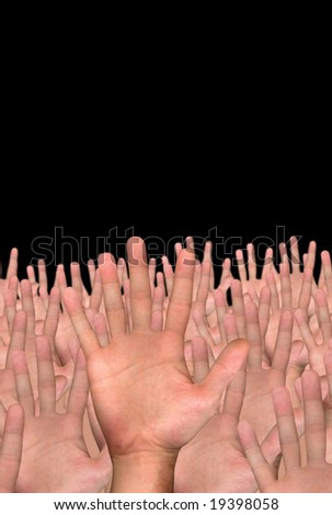 single hand in front of several hands on black background - stock photo