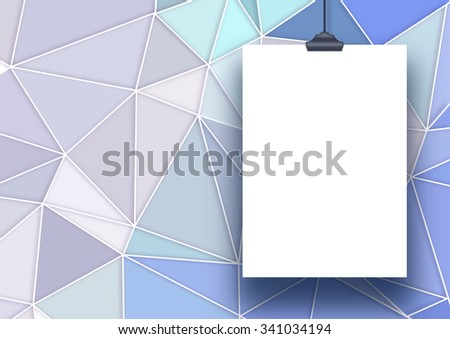Single hanged vertical paper sheet frame on the right with clip on modern triangular background