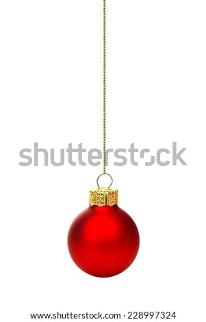Single hanging red Christmas ornament isolated on white