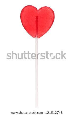 Single heart-shaped lollipop of valentines day isolated on white background - stock photo