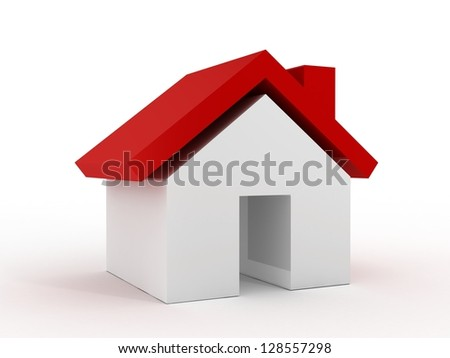 Single house icon, sign with red roof, real estate concept, isolated on white background. - stock photo