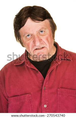 Single isolated middle aged impatient Caucasian man - stock photo