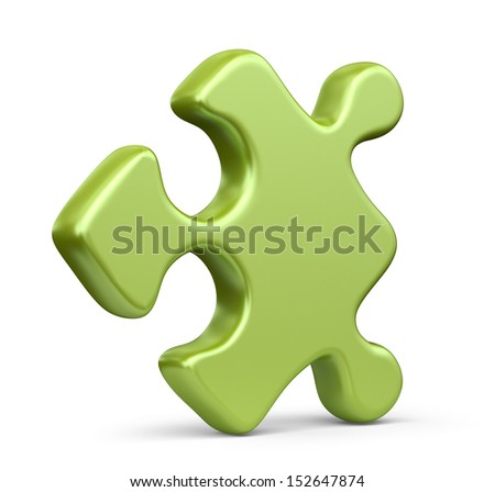Single jigsaw puzzle piece. 3D Icon isolated on white background - stock photo