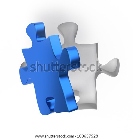 Single Jigsaw Puzzle Piece on a white Background