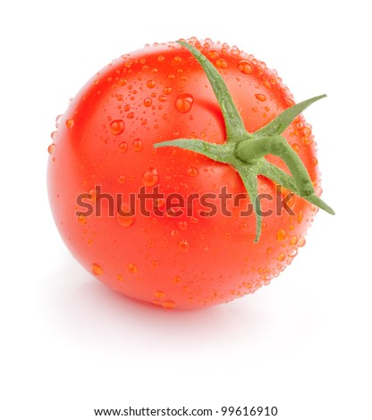 Single Juicy tomato with drops Isolated on white background