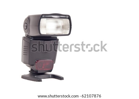 Single Lens Reflex ( SLR ) Camera Flash with Space for Text - stock photo