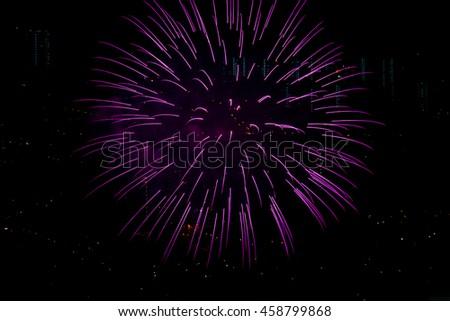 single magenta pink fireworks burst - stock photo