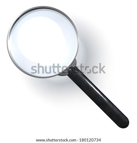 Single magnifying glass, 3d rendering isolated on white background - stock photo