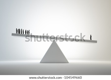 Single man outweighing a small group - comparative advantage concept illustration - stock photo