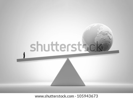 Single man outweighing the world - comparative advantage concept illustration