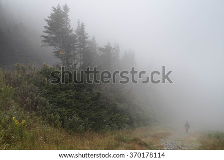 Single man walking on rock path immersed in mist and fog in the mountain - stock photo