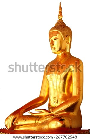 single meditation buddha statue in buddhist temple at bangkok, thailand, isolated on white background - stock photo