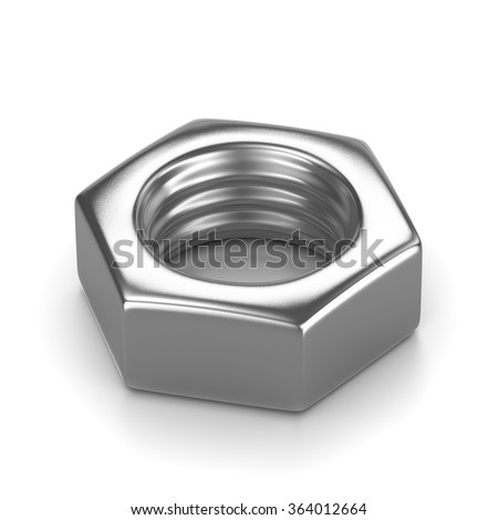 Single Metal Nut on White Background