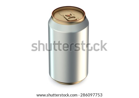 single metallic drink can coseup isolated on white background