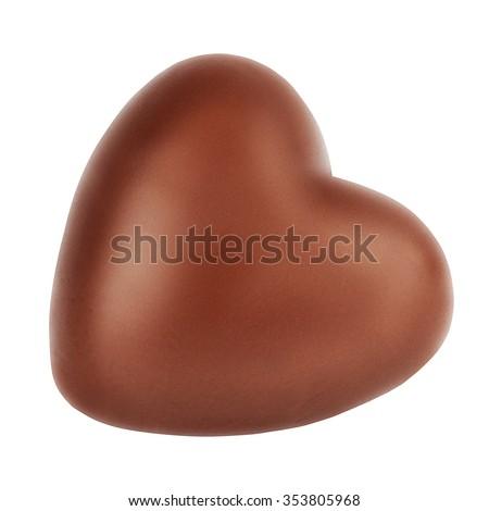 single milk chocolate heart  romantic symbol love isolated on the white background - stock photo