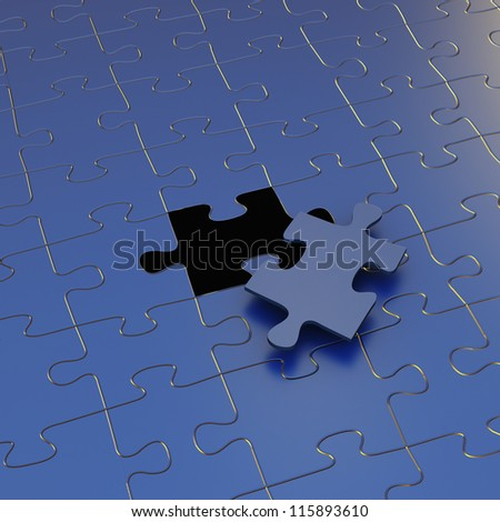 Single missing piece of jigsaw puzzle  on blue background puzzle - stock photo