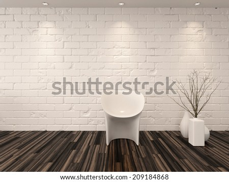 Single modern white chair against a whitewashed brick wall with vase ornaments and recessed overhead down lights illuminating a hardwood parquet floor - stock photo