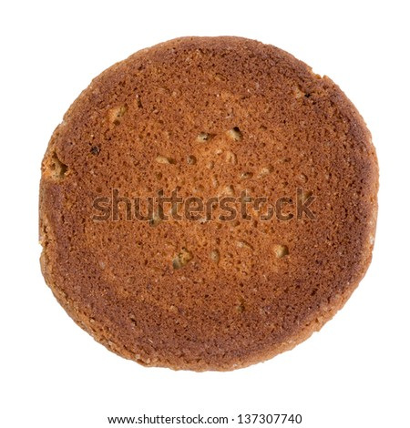 single oat cookie, isolated on white background - stock photo