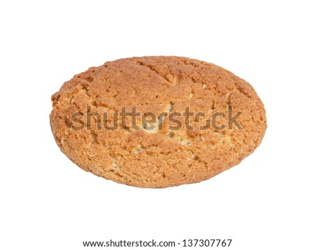 single oat cookie, isolated on white background