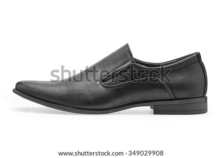Single of classical black leather shoes for men, without shoelaces on a white background - stock photo
