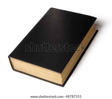 Single old hard cover black book isolated over white - stock photo